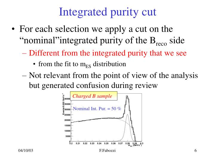 Integrated purity cut