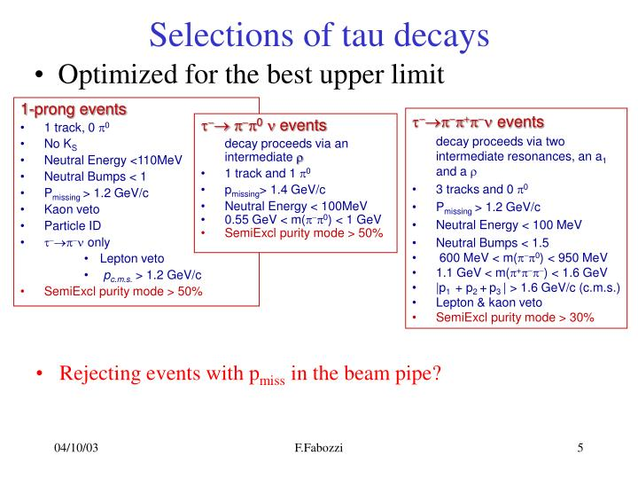 Selections of tau decays