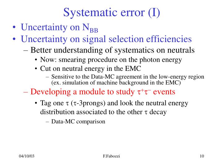 Systematic error (I)
