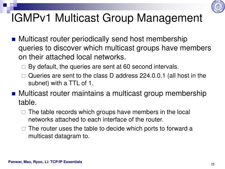 IGMPv1 Multicast Group Management