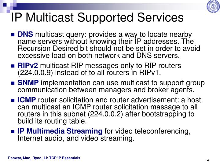IP Multicast Supported Services