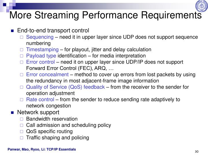 More Streaming Performance Requirements