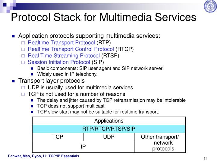 Protocol Stack for Multimedia Services