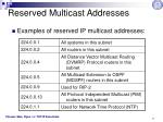 reserved multicast addresses