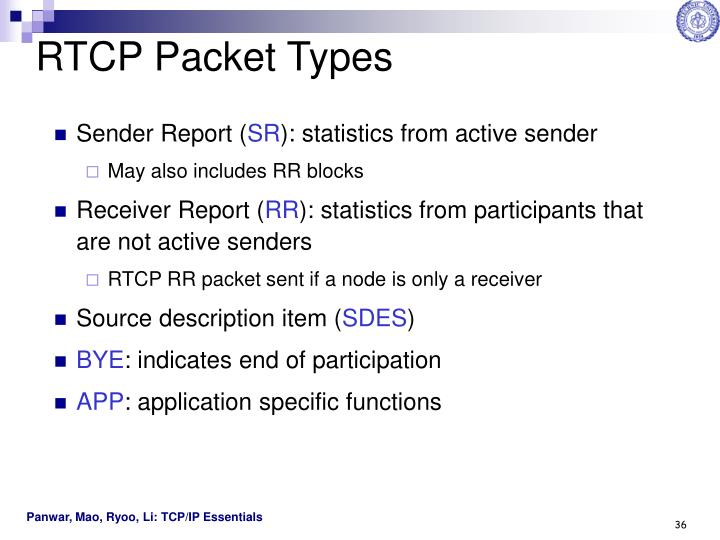 RTCP Packet Types