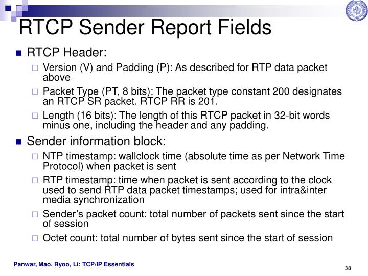 RTCP Sender Report Fields