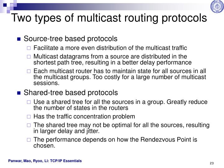 Two types of multicast routing protocols