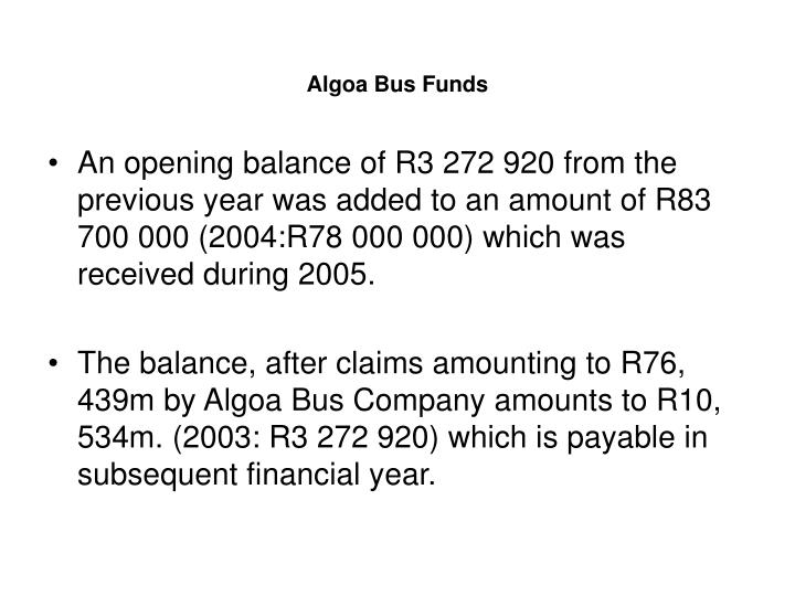 Algoa Bus Funds