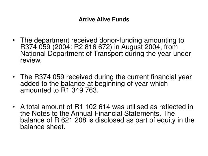 Arrive Alive Funds