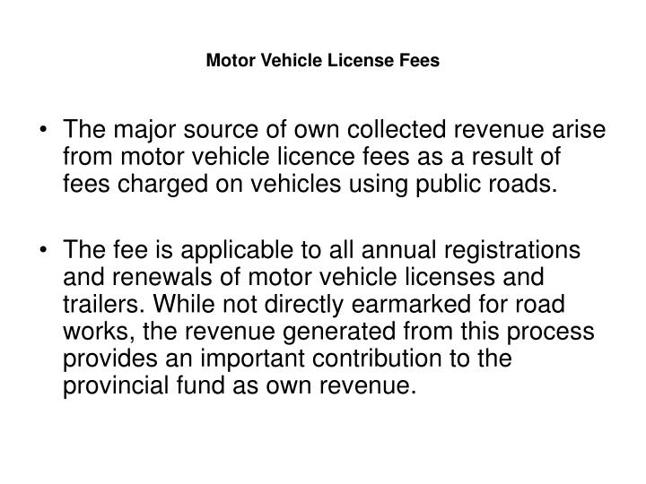 Motor Vehicle License Fees