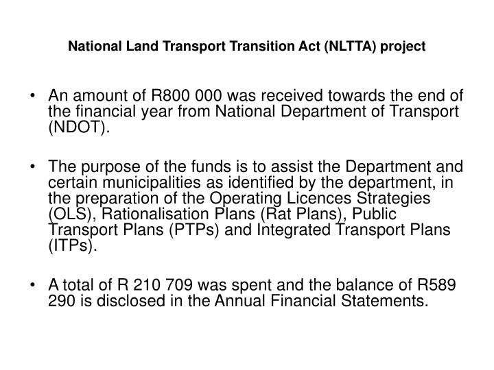 National Land Transport Transition Act (NLTTA) project