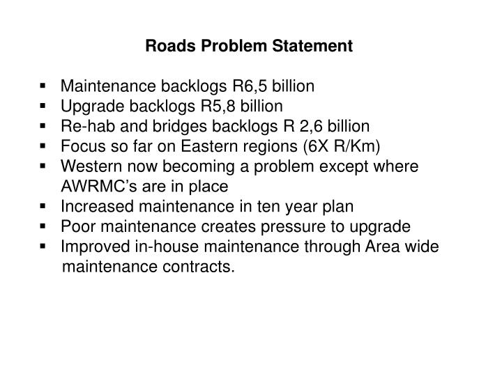 Roads Problem Statement