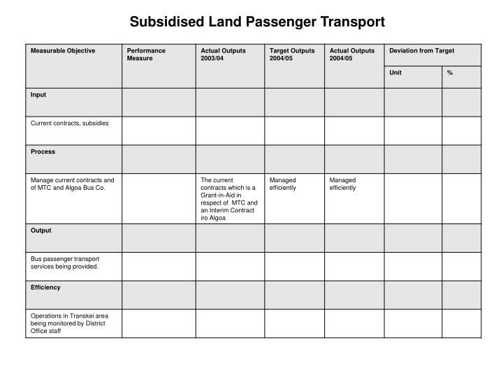 Subsidised Land Passenger Transport