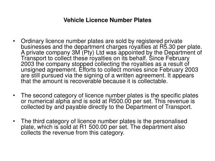 Vehicle Licence Number Plates