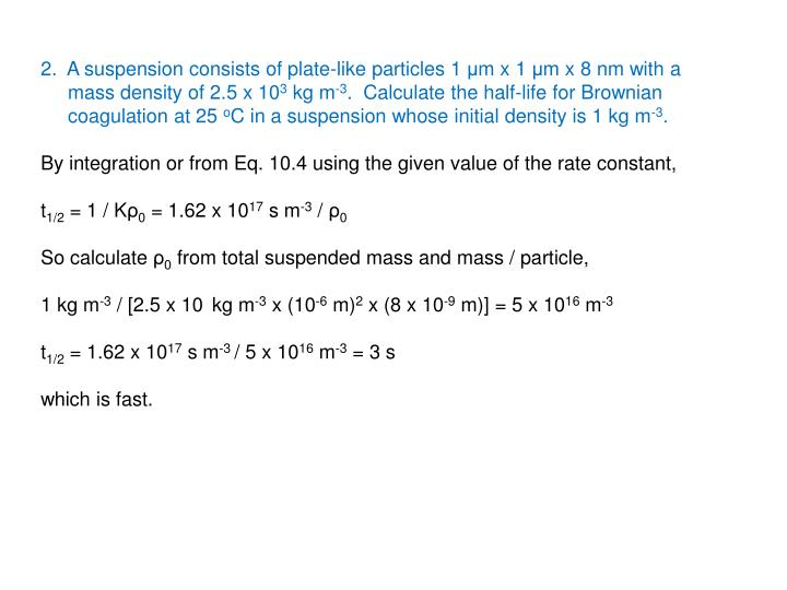 2.  A suspension consists of plate-like particles 1