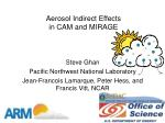 aerosol indirect effects in cam and mirage