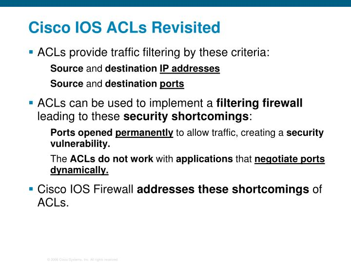 Cisco IOS ACLs Revisited