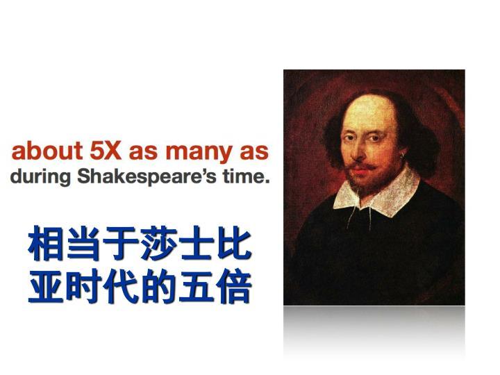 相当于莎士比亚时代的五倍