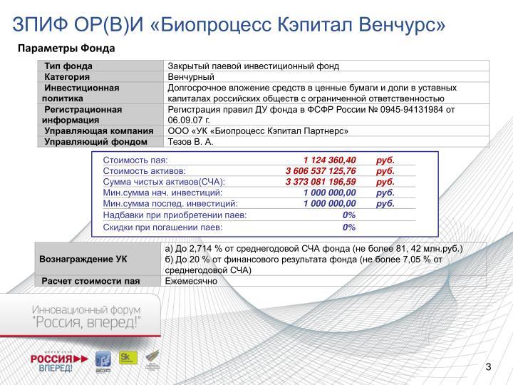 ЗПИФ ОР(В)И «Биопроцесс Кэпитал Венчурс»
