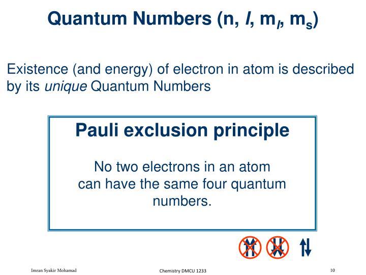 Quantum Numbers (n,