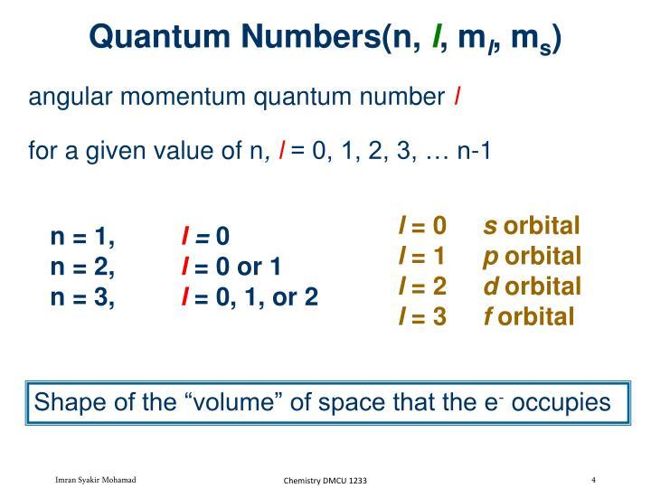 Quantum Numbers(n,