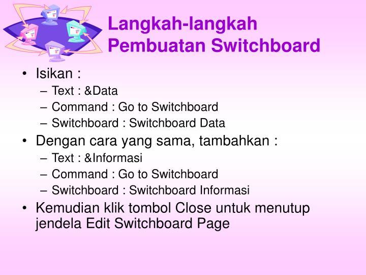 Langkah-langkah Pembuatan Switchboard