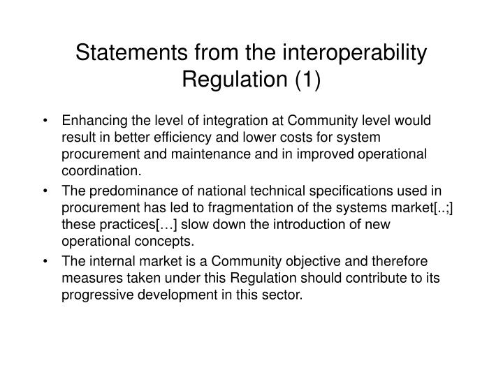 Statements from the interoperability Regulation (1)