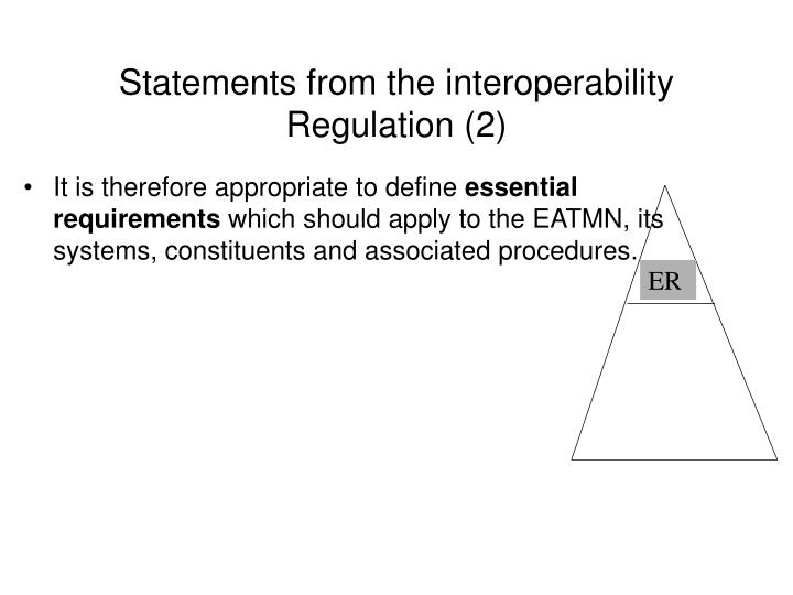 Statements from the interoperability Regulation (2)