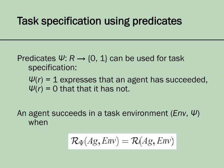 Task specification using predicates