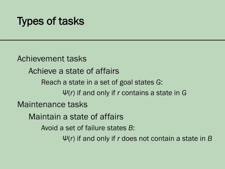 Types of tasks