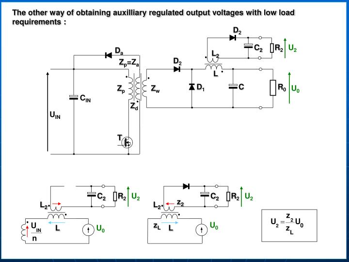 The other way of obtaining auxilliary regulated output voltages with low load requirements :