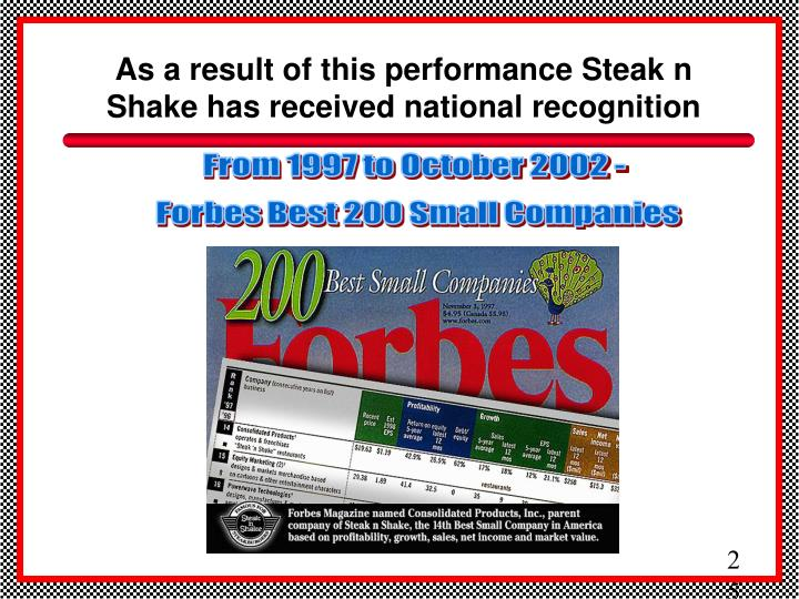 As a result of this performance Steak n Shake has received national recognition