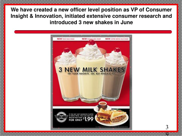 We have created a new officer level position as VP of Consumer Insight & Innovation, initiated extensive consumer research and  introduced 3 new shakes in June