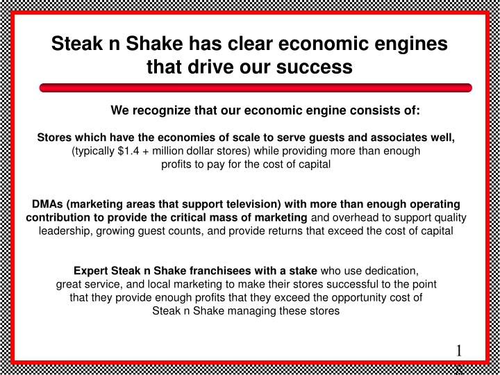 Steak n Shake has clear economic engines