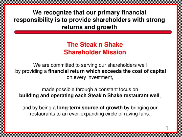 We recognize that our primary financial responsibility is to provide shareholders with strong returns and growth