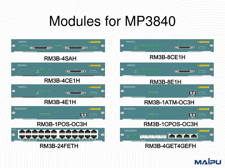 Modules for MP3840