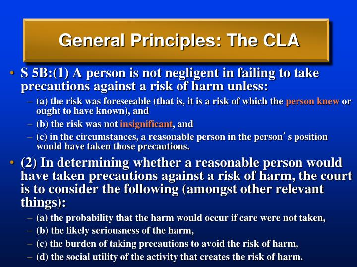 General Principles: The CLA