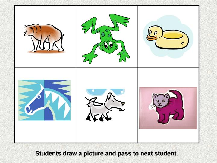 Students draw a picture and pass to next student.