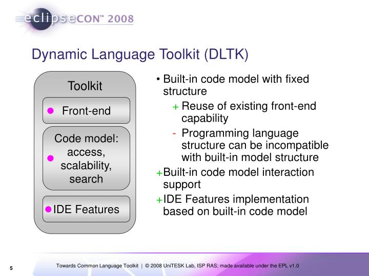 Dynamic Language Toolkit (DLTK)