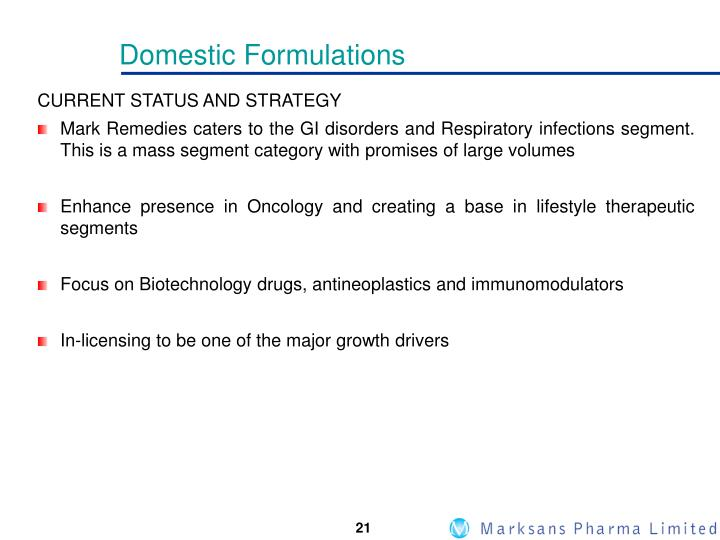 Domestic Formulations