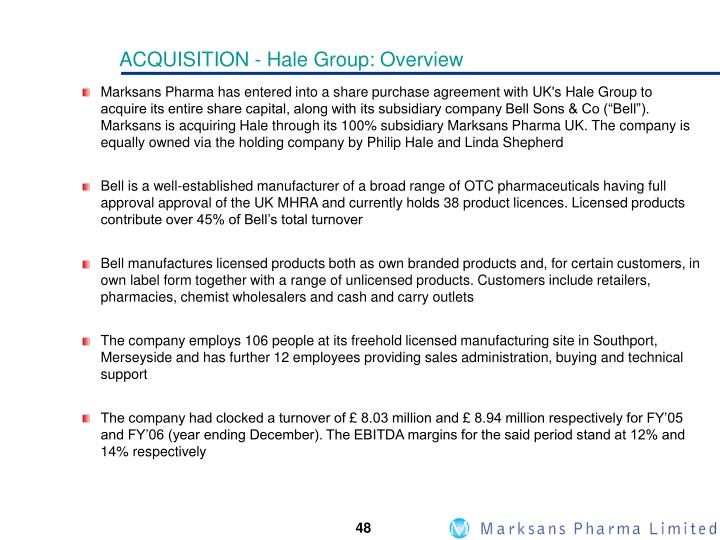 ACQUISITION - Hale Group: Overview