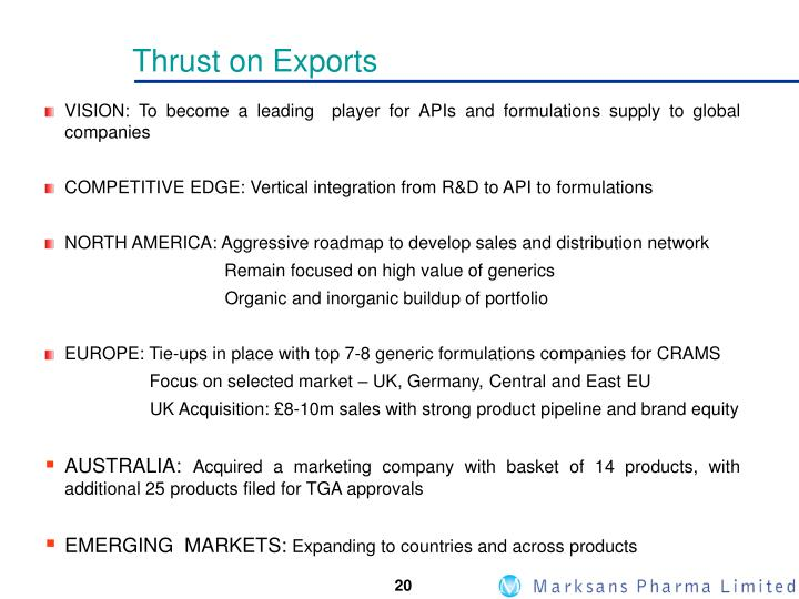 Thrust on Exports