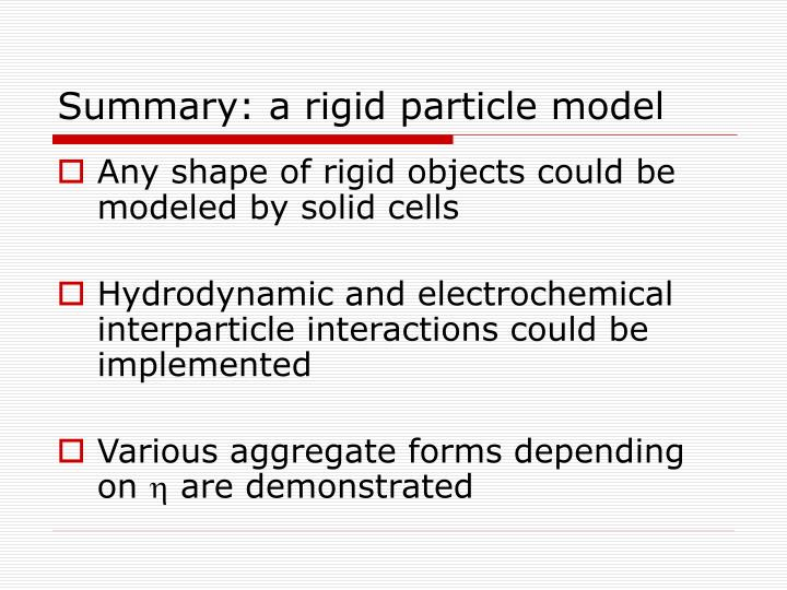 Summary: a rigid particle model