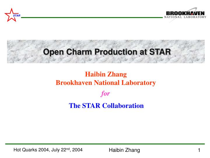 haibin zhang brookhaven national laboratory