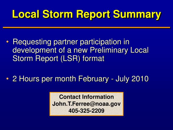 Local Storm Report Summary