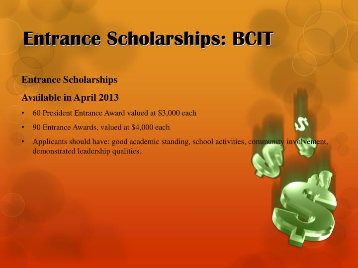 Entrance Scholarships: BCIT