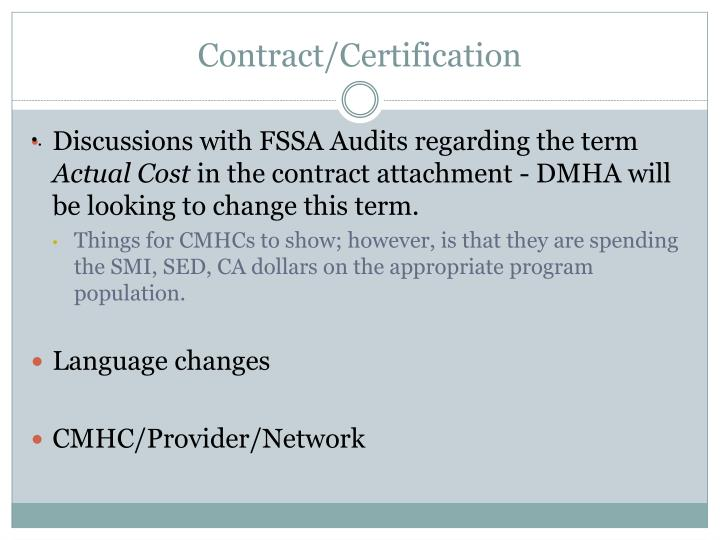 Contract/Certification
