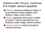 arhitektura dbs k oncept modeliranje e r model osnovni gradniki