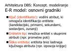 arhitektura dbs k oncept modeliranje e r model osnovni gradniki1