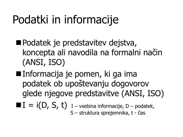 Podatki in informacije